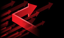 Abstract Red Arrow Direction Up On Black Design Modern Futuristic Background Vector Illustration.