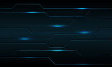 Abstract Blue Metallic Black Line Circuit Cyber With Light Power Design Modern Futuristic Technology Background Vector Illustration.