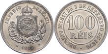 BRAZIL Pedro II 100 Reis 1883
