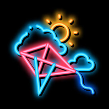 Kite Flying In Sunny Weather Neon Light Sign Vector. Glowing Bright Icon Kite Flying In Sunny Weather Sign. Transparent Symbol Illustration