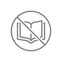 Forbidden Sign With Open Book Line Icon. No Book Reading, Stop Thinking, Education Rejection Symbol
