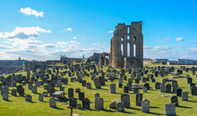 Ruins Section Of Tynemouth Castle And Priory On The Coast Of North East England