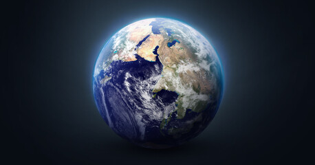 Sphere of Earth planet on dark background. Blue ocean and continents. Solar system element. Elements of this image furnished by NASA