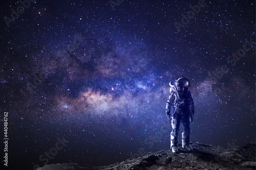 Tela Astronaut in outer space fantasy background, galaxy universe