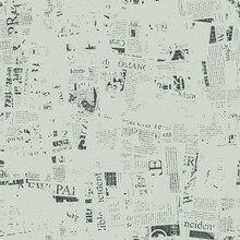 Abstract Seamless Pattern With Fragments Of Unreadable Newspaper Text, Headlines And Illustrations On A Light Backdrop. Chaotic Monochrome Vector Background. Wallpaper, Wrapping Paper, Fabric Design