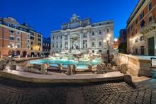 Trevi Fountain Illuminated At Night, Rome, Italy