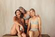 Leinwandbild Motiv Carefree women embracing their aging bodies