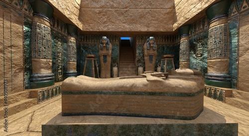 Obraz na plátně Pharaoh's tomb in the pyramid 3d illustration