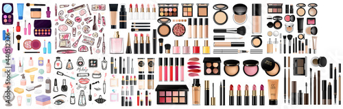 Canvastavla Big set of different realistic packages for decorative cosmetics