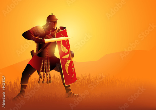 Stampa su Tela Ancient Rome legionnaire in a position ready to fight