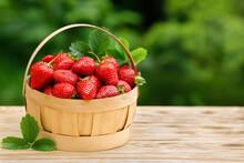 Full Basket Of Ripe Fresh Strawberries In Basket
