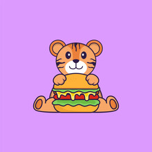 Cute Tiger Eating Burger. Animal Cartoon Concept Isolated. Can Used For T-shirt, Greeting Card, Invitation Card Or Mascot. Flat Cartoon Style
