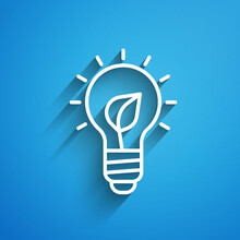 White Line Light Bulb With Leaf Icon Isolated On Blue Background. Eco Energy Concept. Alternative Energy Concept. Long Shadow. Vector