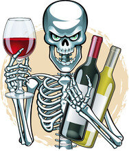 Human Skeleton Holding Wine Glass And Bottles Of Wine