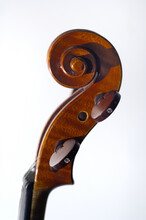 Closeup Of A Wooden Violin Head With The Curl On White Background