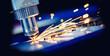 Leinwandbild Motiv CNC Laser engraving cutting of heavy metal with light spark. Concept banner background modern industrial technology