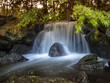 Mały wodospad w Ogrodzie Japońskim we Wrocławiu