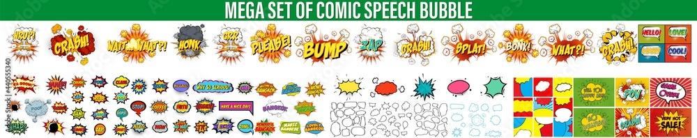Set Of Comics Explosion Bubbles, Color Comic Book Page Template, Comic speech bubbles set, comic wording sound effect set design for comic background, Comic book sound effect, speech bubble in pop art - obrazy, fototapety, plakaty