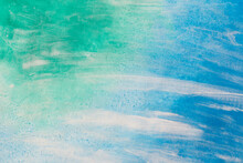 Green, Blue, White Painted Background Texture
