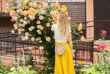 A Girl Admires Yellow Roses On The Street, In The Park, In The Garden