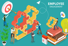 3D Isometric Flat Vector Conceptual Illustration Of Employee Engagement, Staff Professionalism And Inspiration