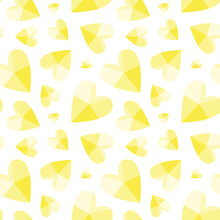 Seamless Vector Pattern With Illuminating Yellow Hearts. Romantic Texture With Quartz Gold Hearts In Trendy Color. Cute Abstract Vector Illustration On A White Background. For A Wrap, Print, Card.