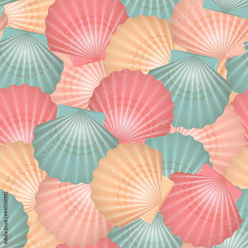 Fotografie, Obraz Multicolored seashells, scallops seamless pattern