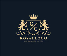 Initial CC Letter Lion Royal Luxury Heraldic,Crest Logo Template In Vector Art For Restaurant, Royalty, Boutique, Cafe, Hotel, Heraldic, Jewelry, Fashion And Other Vector Illustration.