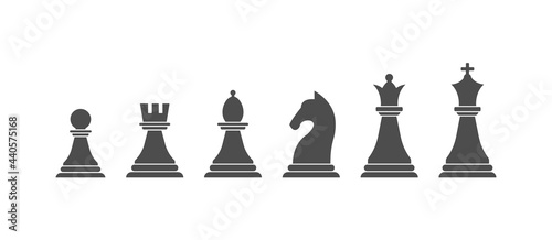 Canvas set of chess pieces, a composite contour
