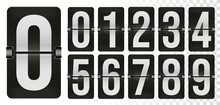 Mechanical Scoreboard Number Set For Flip Clock Time Counter. Alarm Timer, Score Day Date Numeric Mechanical Counter, Time Display Digit Symbol Vector Illustration Isolated On White Background