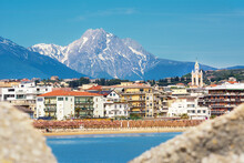 View Of The Pescara Seafront, With The Bell Tower Of The Divino Amore Church And The Gran Sasso