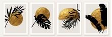 Botanical Wall Art Poster, Print. Exotic Leaves, Golden Sun, Moon.