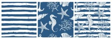 Set Of Sea Style Seamless Patterns. Underwater Creatures, Starfish, Sea Horse, Coral, Fish.