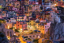 Colorful Houses In The Town Of Manarola, Cinque Terre, Liguria, Italy