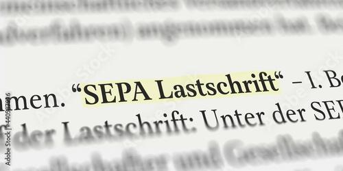 Tableau sur Toile SEPA Lastschrift im Buch mit Textmarker markiert
