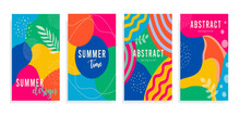 Abstract Summer Doodle Hand Drawn Background, Colorful Banner, Bright Floral Flyer. Design Template Art Creative Summer Party Card. Vector Illustration.