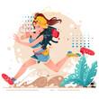 Ilustracja wektorowa, młoda kobieta na wakacjach. Zabawna ilustracja dziewczyna uciekająca przed wielkim Pająkiem na wakacjach z plecakiem. Podróż z plecakiem
