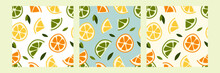 Seamless Pattern With Fresh Lemon, Lime, Mint, Mandarin, Tangerine, Orange. Summer Fruit, Tropical Citrus Background. Vector Flat Cartoon Illustration. Perfect For Textile, Fabric, Wrapping Paper