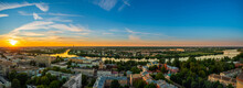 Panorama Of The Confluence Of The Volga River And The Tvertsa River In The City Of Tver In Russia About 150 Km North Of Moscow At Sunset On A Warm Spring Evening