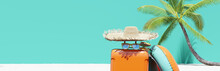 Suitcase With Beach Accessories. Vacation Time. Summer Travel Concept. 3d Rendering