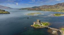 The Ancient Eilean Donan Castle Overlooking Loch Duich In The Scottish Highlands, UK