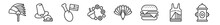 Outline Set Of United States Line Icons. Linear Vector Icons Such As American Native, Thanksgiving Day, Turkey Leg, Thanksgiving Ornament, Thanksgiving Peacock, Fire Hydrant. Vector Illustration.