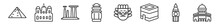 Outline Set Of Monuments Line Icons. Linear Vector Icons Such As Egyptian, Palais Garnier, Temple Of Apollo, Cambodia, Imperial Guardian Lion, Dome Of The Rock. Vector Illustration.