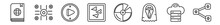 Outline Set Of Logo Line Icons. Linear Vector Icons Such As Encyclopedia, Edges, Play Round Button, Birds, Big Dvd, Share. Vector Illustration.