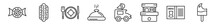 Outline Set Of Food Line Icons. Linear Vector Icons Such As Polvoron, Hotdog And Bread, Plate And Utensils, Serving Dish, Ice Cream Truck, Bitten Ice Cream. Vector Illustration.