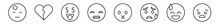 Outline Set Of Emoji Line Icons. Linear Vector Icons Such As Headache Emoji, Broken Heart Emoji, Rich Grinning Muted Anguished Vector Illustration.