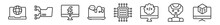 Outline Set Of Computer Line Icons. Linear Vector Icons Such As Surfing The Net, Connected Folder Data, Pound, Online Support, Square Chip, 3d Screen. Vector Illustration.