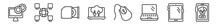 Outline Set Of Computer Line Icons. Linear Vector Icons Such As Computer And Monitor Tools, Information Network, Dvd Drive, Laptop Connected To Cloud, Computer Mouse Device, Restaurant App. Vector