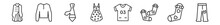 Outline Set Of Clothes Line Icons. Linear Vector Icons Such As Trench Coat, Cardigan, Cravat, Vintage Dress, Jersey, Jean. Vector Illustration.