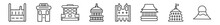 Outline Set Of Buildings Line Icons. Linear Vector Icons Such As Moot Hall, Post Office, Uno Building, Capitol Building, Notre Dame, Fuji Mountain. Vector Illustration.